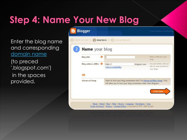 Step 4: Name Your New Blog