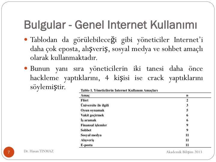 Bulgular - Genel Internet Kullanımı