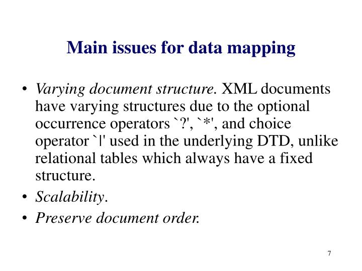 Main issues for data mapping