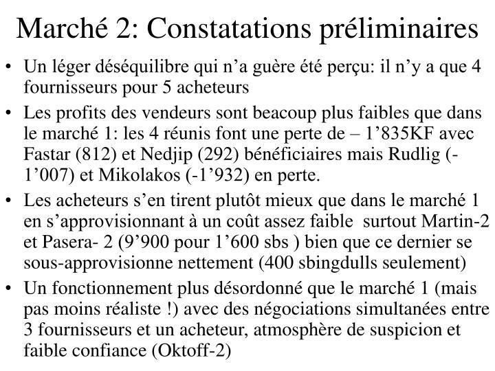 Marché 2: Constatations préliminaires
