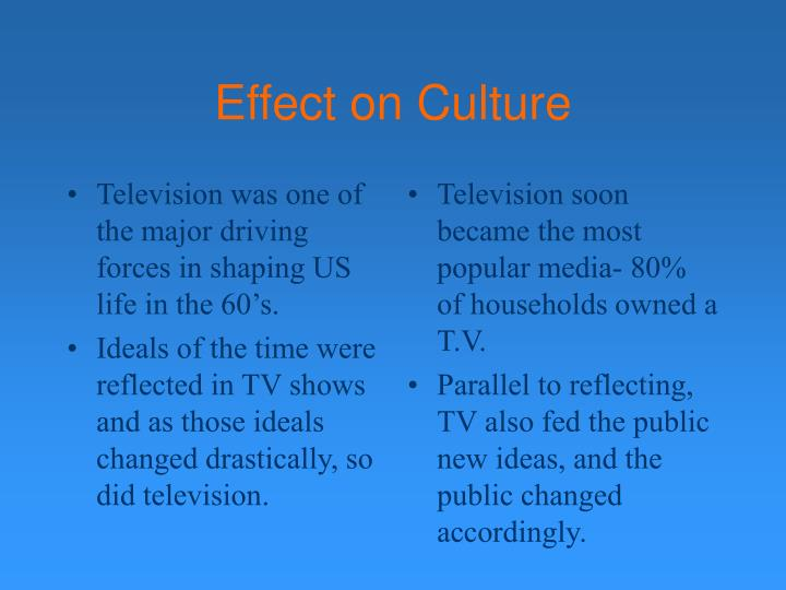 Television was one of the major driving forces in shaping US life in the 60's.