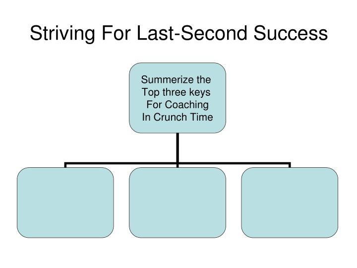 Striving For Last-Second Success