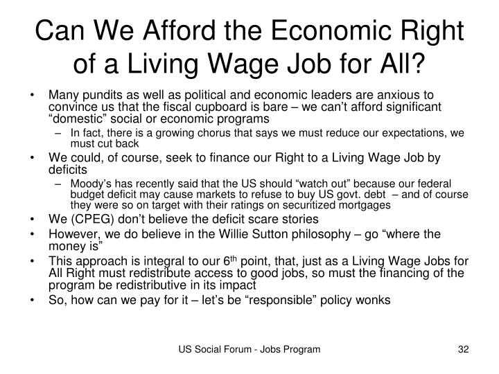 Can We Afford the Economic Right of a Living Wage Job for All?