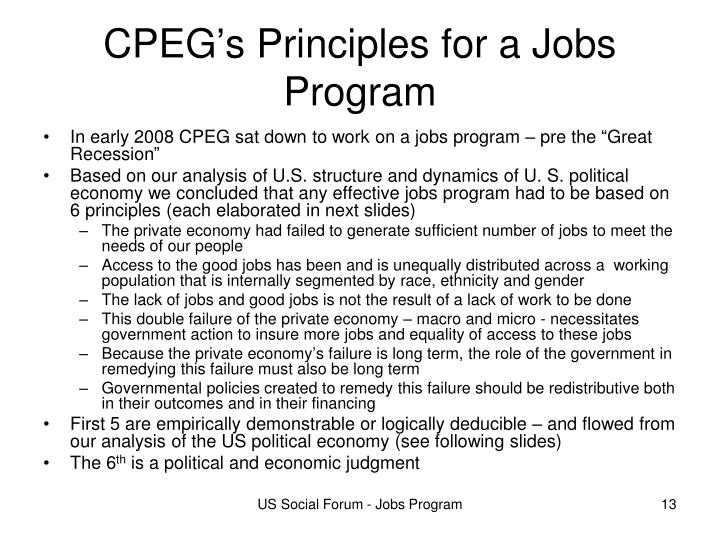 CPEG's Principles for a Jobs Program