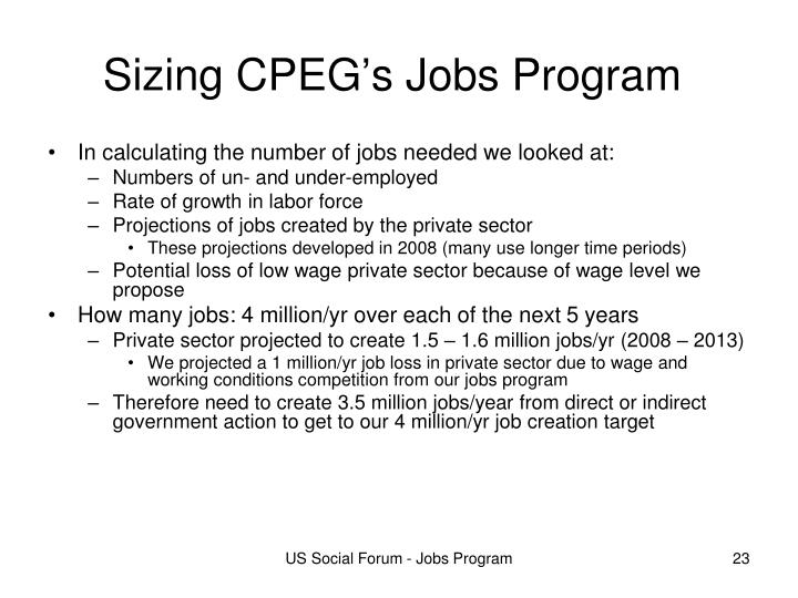 Sizing CPEG's Jobs Program