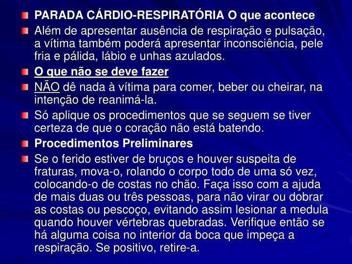 PARADA CÁRDIO-RESPIRATÓRIA