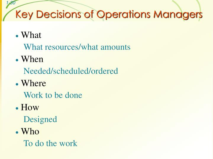 Key Decisions of Operations Managers