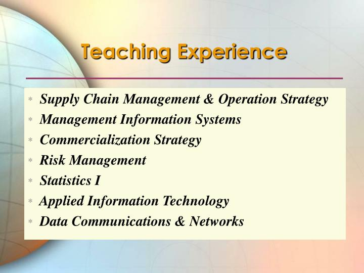 Teaching Experience
