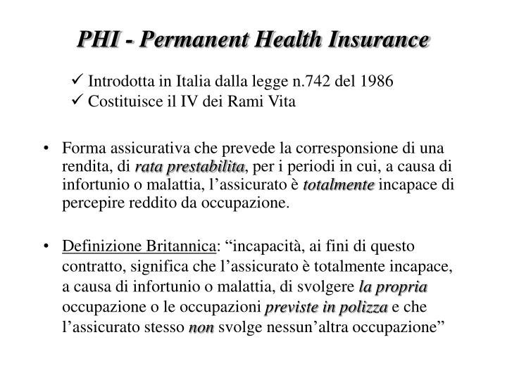 Phi permanent health insurance