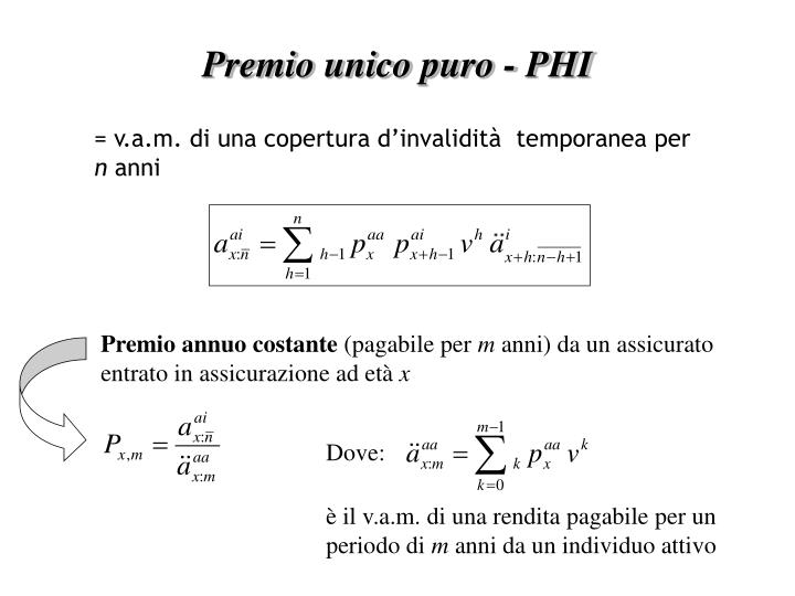 Premio unico puro - PHI