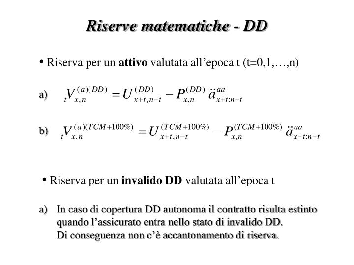 Riserve matematiche - DD