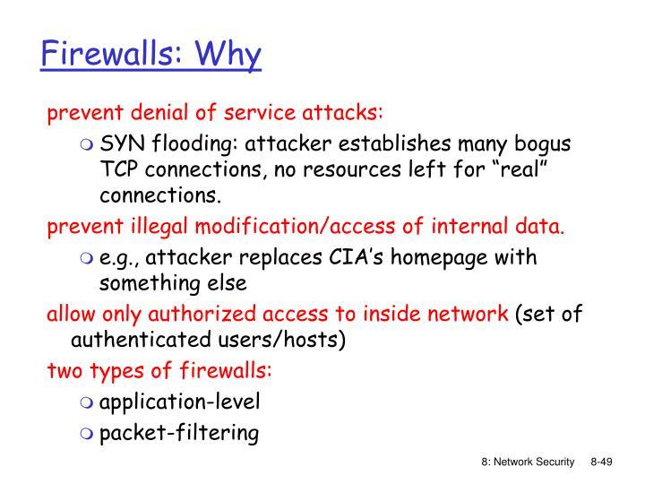 Firewalls: Why
