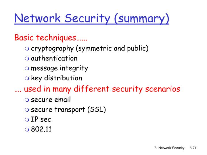 Network Security (summary)
