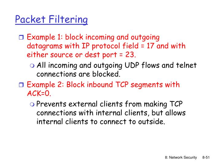 Example 1: block incoming and outgoing datagrams with IP protocol field = 17 and with either source or dest port = 23.