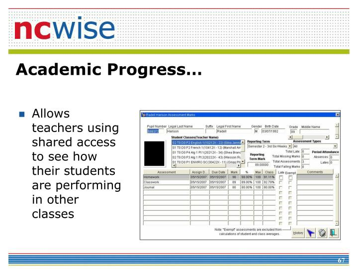 Allows teachers using shared access to see how their students are performing in other classes