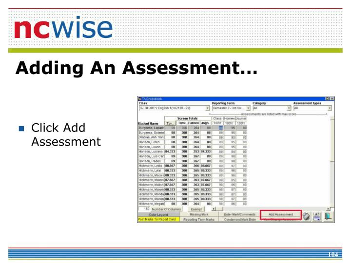 Click Add Assessment