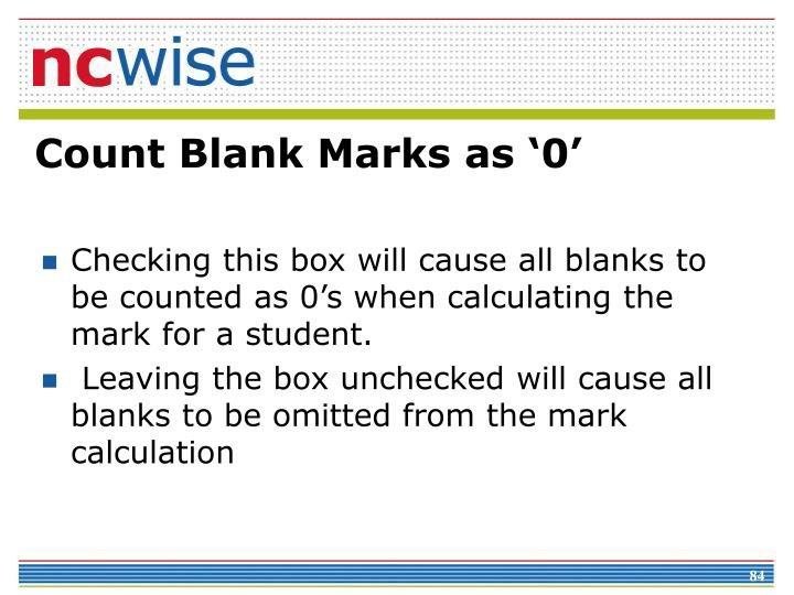 Count Blank Marks as '0'