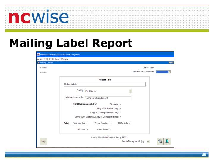 Mailing Label Report