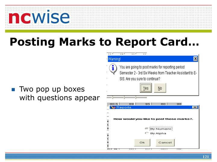 Posting Marks to Report Card…