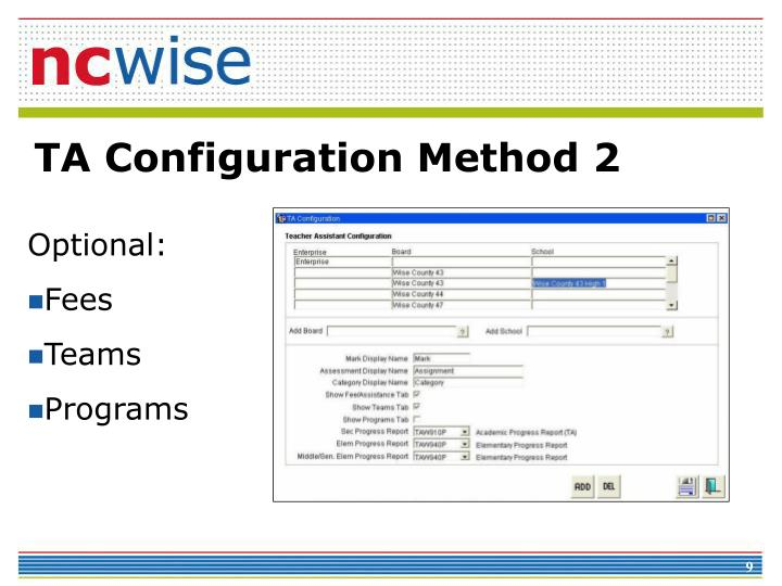 TA Configuration Method 2