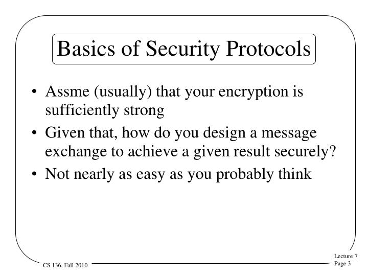 Basics of Security Protocols