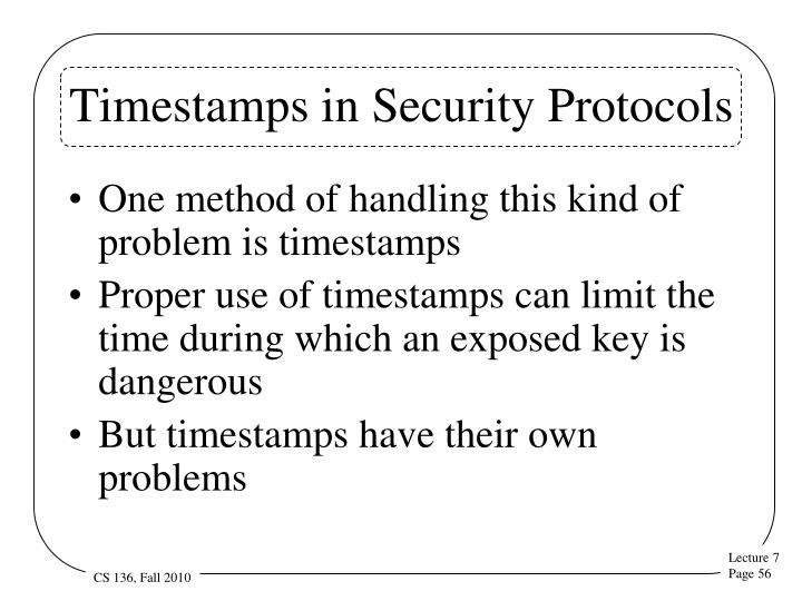 Timestamps in Security Protocols