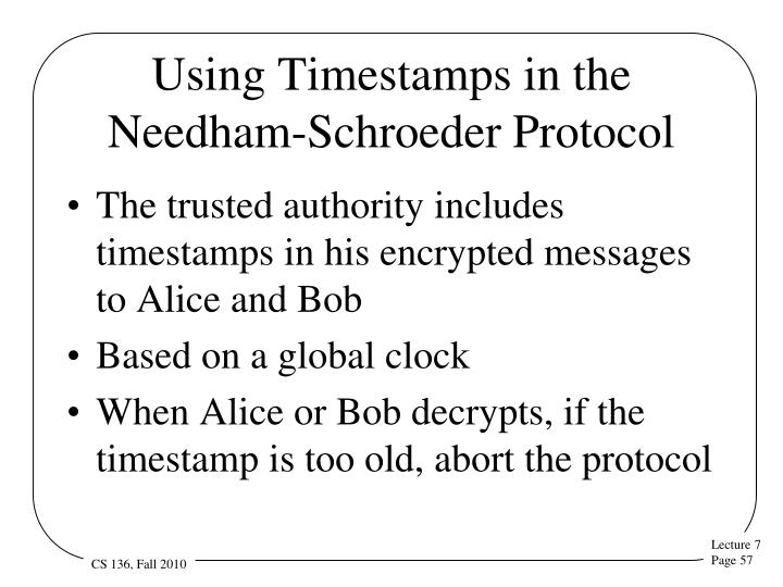 Using Timestamps in the Needham-Schroeder Protocol