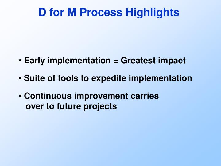 D for M Process Highlights