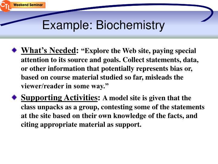 Example: Biochemistry