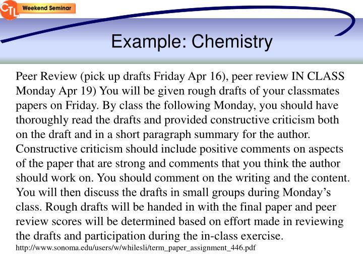 Example: Chemistry
