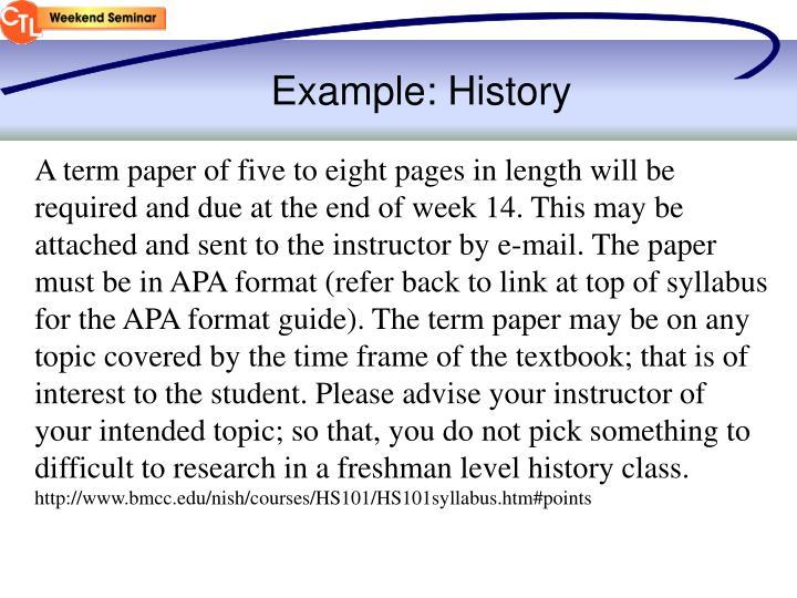 Example: History