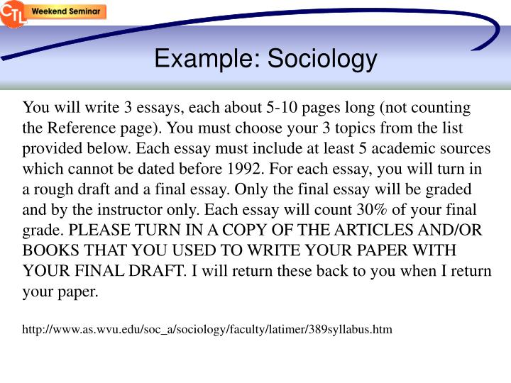 Example: Sociology