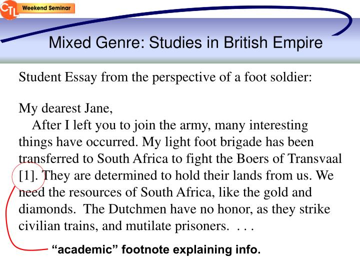 Mixed Genre: Studies in British Empire