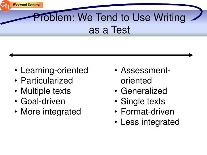 Problem: We Tend to Use Writing as a Test