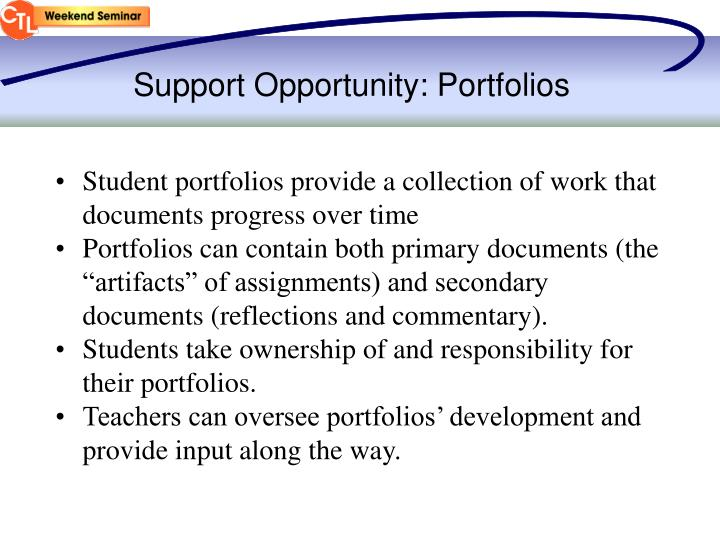 Support Opportunity: Portfolios