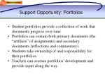 support opportunity portfolios