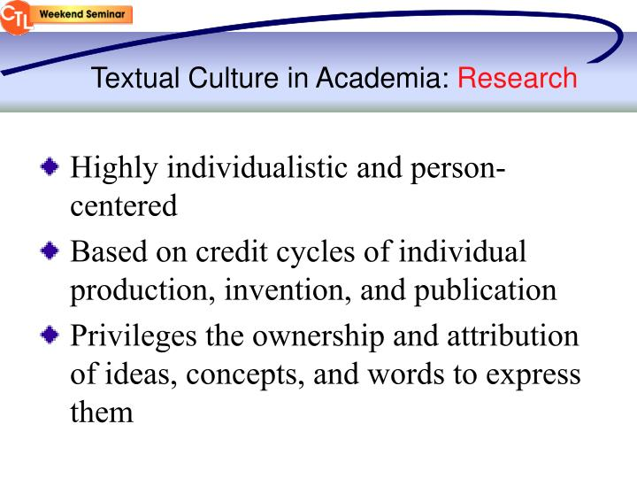 Textual Culture in Academia: