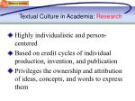 textual culture in academia research