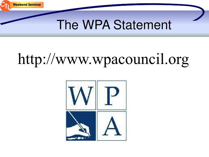 The WPA Statement