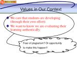values in our context
