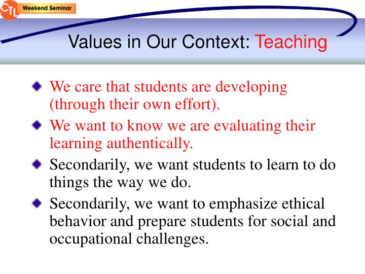 Values in Our Context: