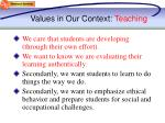values in our context teaching