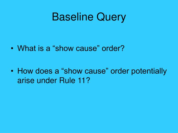 Baseline Query