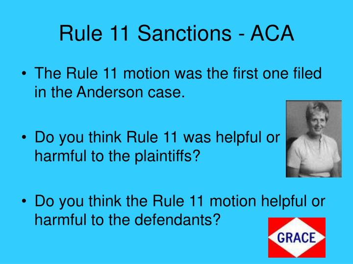 Rule 11 Sanctions - ACA
