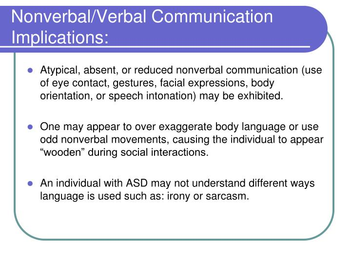 Nonverbal/Verbal Communication Implications: