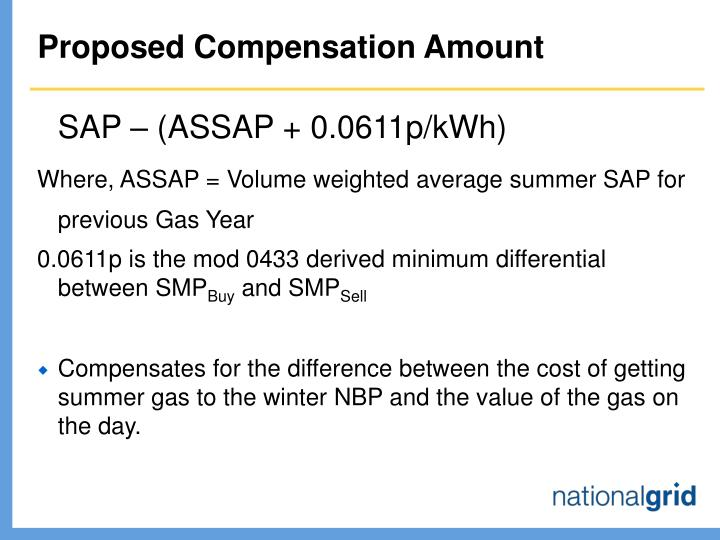 Proposed compensation amount