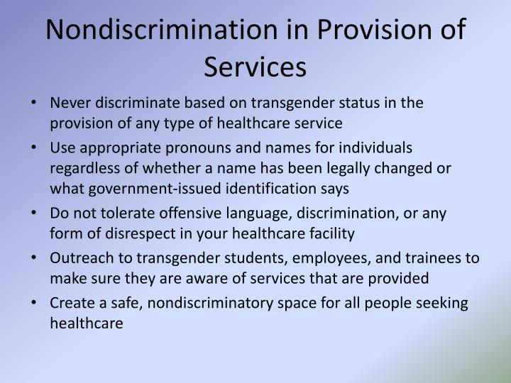 Nondiscrimination in Provision of Services