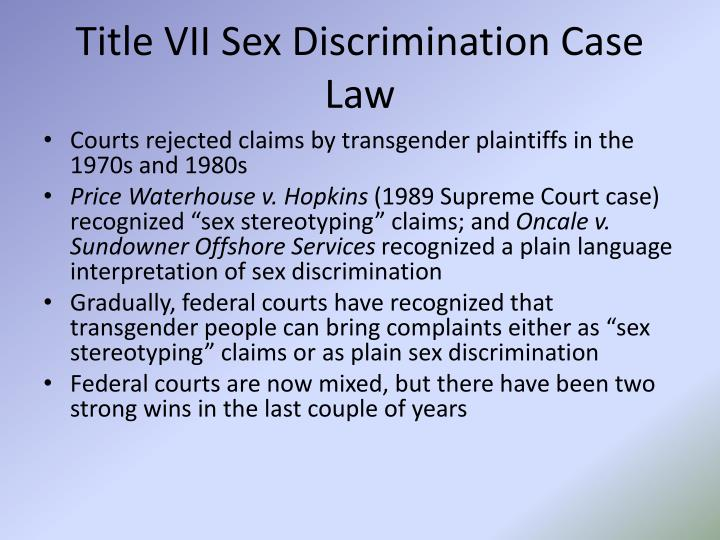 Title VII Sex Discrimination Case Law