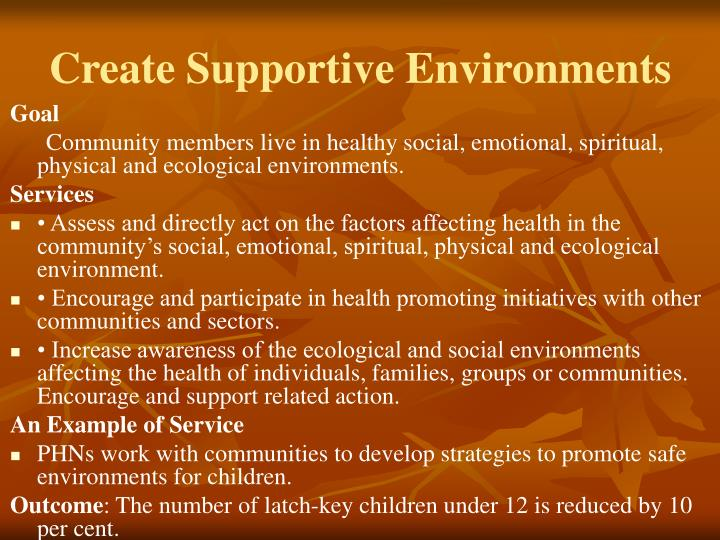 Create Supportive Environments