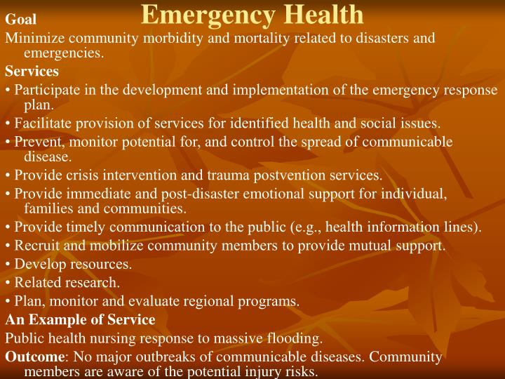 Emergency Health